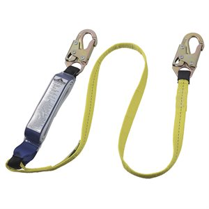 PEAKWORKS - V8104306 - E6 SHOCK ABSORBING LANYARD - SP - SINGLE LEG - SNAP HOOKS - 6' (1.8 M) - SA-7400-6