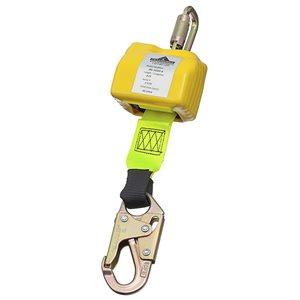 PEAKWORKS - V84511008 - LIGNE DE VIE AUTORÉTRACTABLE - SANGLE DE 1-3 / 4 PO (45 MM) - CHÂSSIS EN ACIER - TYPE 1 - MOUSQUETON - 2,4 M (8 PI) - SRL-10301-8