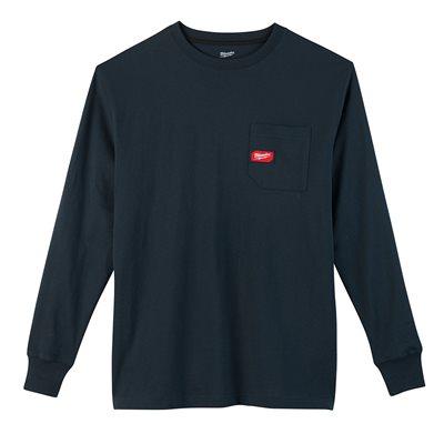 T-shirt à poche - Manches longues Bleu 3X